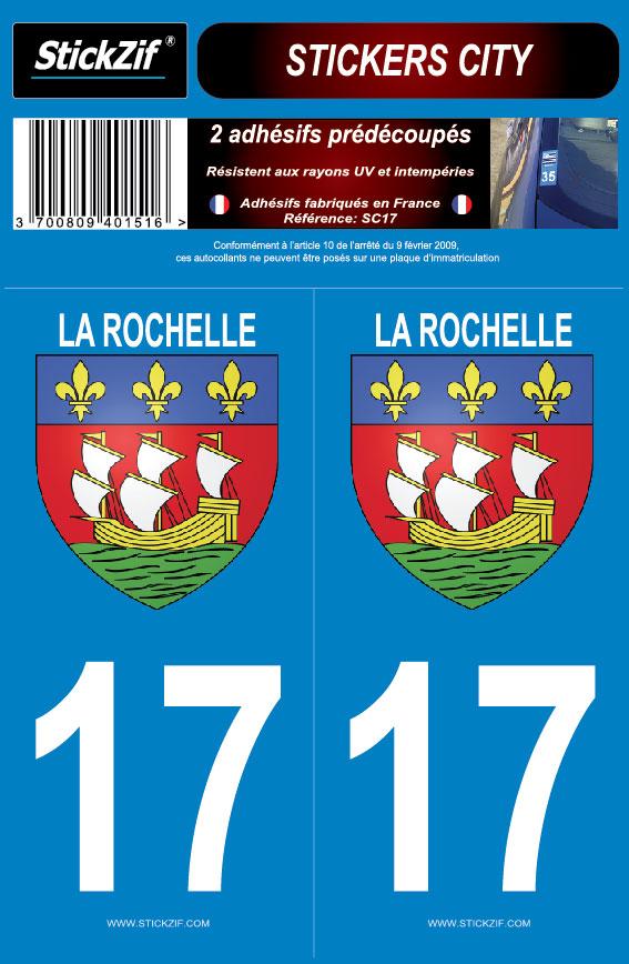 Badges, Insignes, Mascottes 17 Charente-maritime Departement Immatriculation 2 X Autocollants Sticker Auto, Moto – Pièces, Accessoires