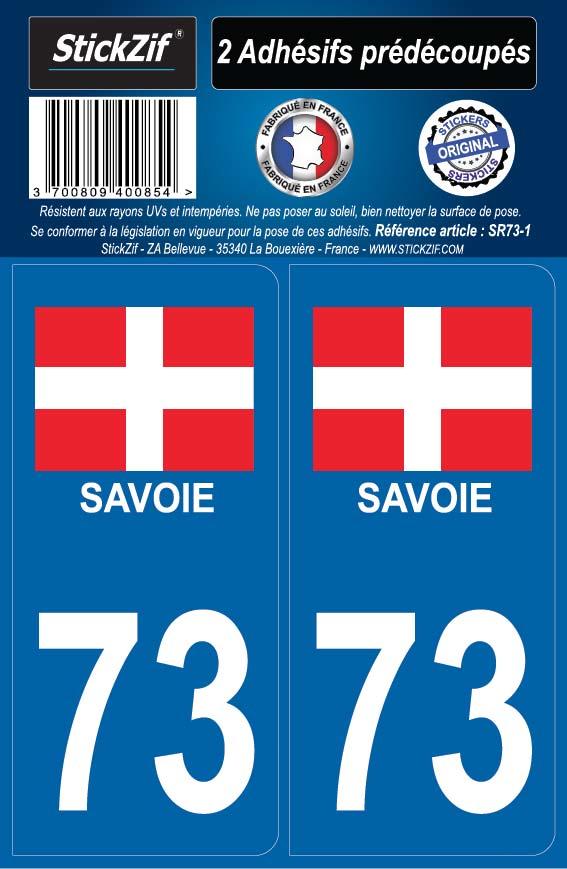 Auto, Moto – Pièces, Accessoires Automobilia 73 Savoie Departement Immatriculation 2 X Autocollants Sticker Autos